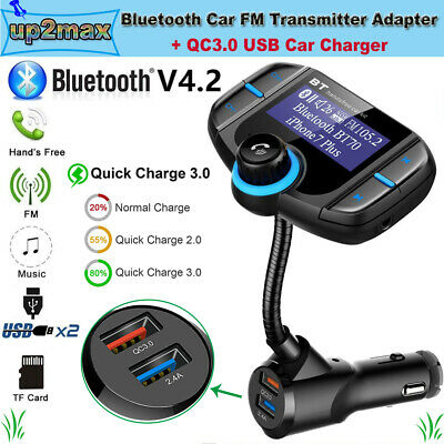 Quick Charge 3.0 Wireless Radio Adapter Hands-Free Car Kit with Music Player and 2 USB Ports CHGeek 4352716421 Bluetooth FM Transmitter for Car