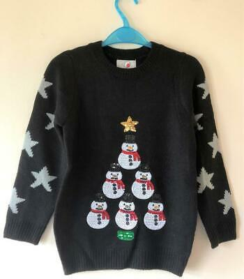 New Girls Christmas Snowman Sequin Knit Jumper Black - Exstore - Ages 7-12 Yrs