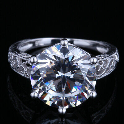 Sterling Silver Round Cut 12mm 11.94ct Flawless Cubic Zirconia Ring Fine Jewelry