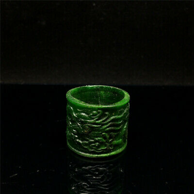 "1.02"" Chinese Exquisite Green Ox horn Hand-carved Dragon Finger Ring"