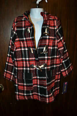 CHEROKEE Red Plaid Toggle Fashion Coat Girls Toddler SIZE 5T NWT