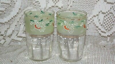 ANTIQUE Boheman, Czech Moser Juice Glass SET HANDPAINTED ART DECO DESIGN PANELED