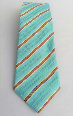 Canali Italian 100% Silk Blue Brown White Striped Neck Tie