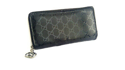 Gucci Authentic Black Leather Vintage GG Guccissima Long Zip around Wallet