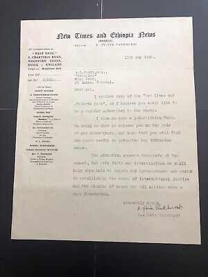 E Sylvia Pankhurst Letter Signature Suffragette Ethiopia Times Abyssinia