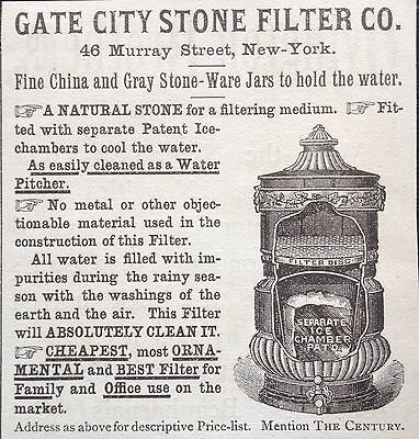 Antique 1888 Ad (1800-14)~Gate City Stone Filter Co. Stone Water Cooler