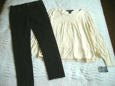 Bnwt Polo Ralph Lauren 6 Years L/S Cream Top/Blouse & Black Skinny Trousers