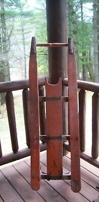 Large Antique  Farm Children's Primitive Painted Wood Snow Sled AAFA