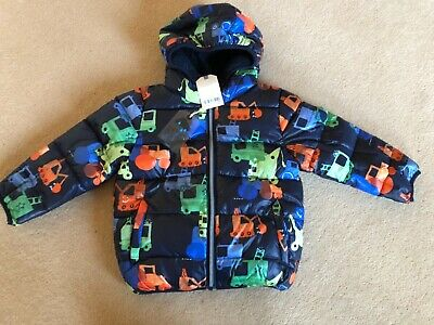Bnwt NEXT Boys Padded Warm Navy Transport Print Coat Jacket  Fleece lined 2-3 yr