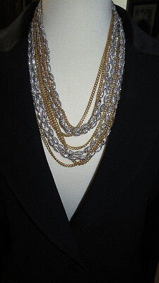 Nwt $475.00 Neiman Marcus Layered Gold Chain & Swarovski Crysal Necklace