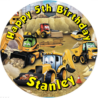 "JCB Digger   personalised  Edible icing sheet 7.5"" Round  cake topper  Birthday"