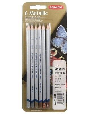 Derwent Metallic Water-soluble Colouring Pencils Blister Set of 6 Ref: 0700055