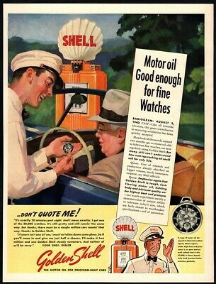 1940 SHELL Motor Oil - Service Station - Attendant - Convertible VINTAGE AD