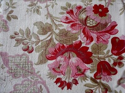 Anique French Time Softened Floral Roses Cotton Fabric ~ Blush Pink Eggplant