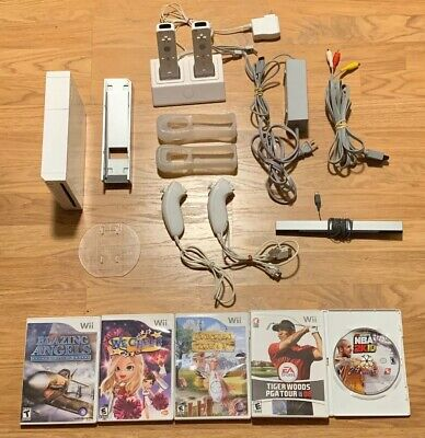 Nintendo Wii White Console RVL-001 - Game Cube Compatible Bundle, 5 Games Tested