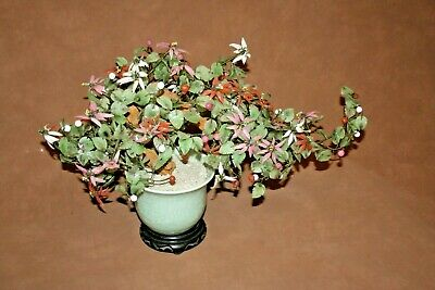 Vintage Lg Chinese Jade Leaf & Glass Cherry Blossom Bonsai Tree in Pot on Base