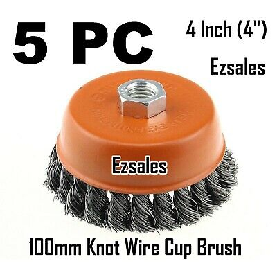 "5 x 4"" Twist Cup Wire Brush 5/8"" Twisted Fits Most 4-1/2"" Angle grinder Hoteche"