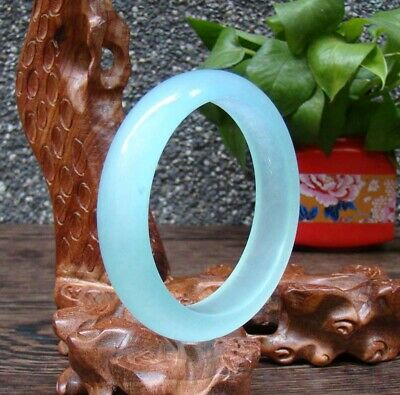Hand-carved chinese natural Hetian jade bracelet Exquisite cyan