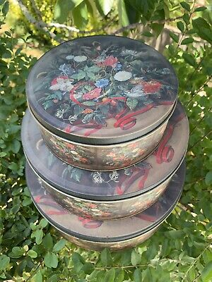 Lovely Lot Of 3 Tins Cake Biscuits Storage Christmas Birds & Flowers Vintage