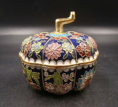95mm Collectible Handmade Copper Brass Cloisonne Enamel Makeup Boxes melon