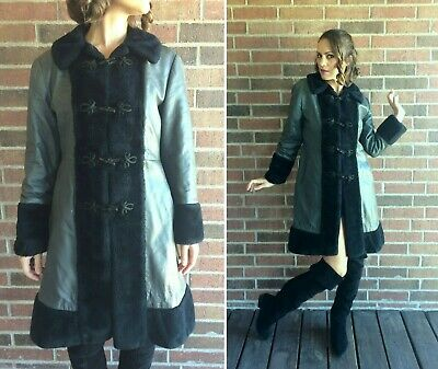 vintage 60s Gray Leather RUSSIAN PRINCESS COAT Large faux fur trench coat fitted