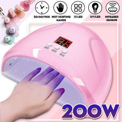 200W LED Nail Dryer UV Lamp Gel Nail Polish Fast Curing Light Timer Sensor