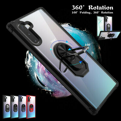 For Samsung Galaxy Note 10 Plus S9 Armor Ring Stand Magnetic Hard Case Cover