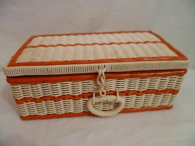 60's Vintage Sewing Box Cane Red White Plastic Tube Woven Covered Retro Craft