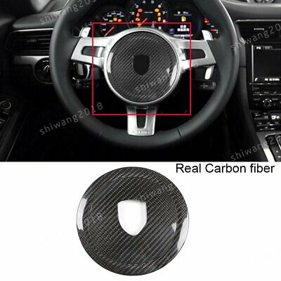 Real Carbon Fiber Steering Wheel Decoration Cover Trim For Porsche 911 2008-2015
