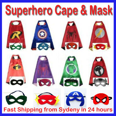 Superhero Capes Costume Cape & Mask Kids Girls Boys Spiderman PJ Mask Paw Patrol