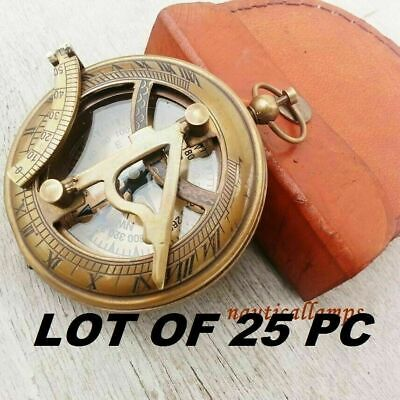 Nautical Sundial Brass Compass Push Button Compass Lot of 25 With Leather Box