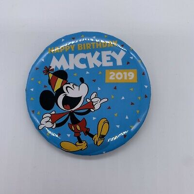 Exclusive Disney Parks Happy Birthday Mickey Mouse 2019 Button Pin LE In Hand