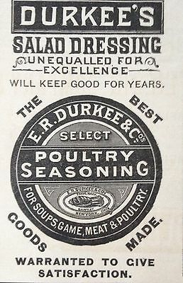 Antique 1888 Ad (1800-14)~Durkee's Salad Dressing And Poultry Seasoning