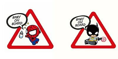 Autocollant Voiture Bébé à bord Spiderman & Batman Baby on Board Sticker Aufkleb