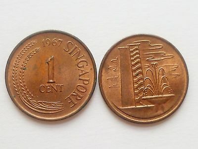 1 pc. of Singapore Brunei Building First one 1 cent used coin 1967-1982 (SC-91)