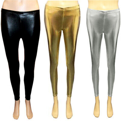 Girls Shiny Metallic Leggings Foil Nativity Wet Look Kids Costume 5-12 Years