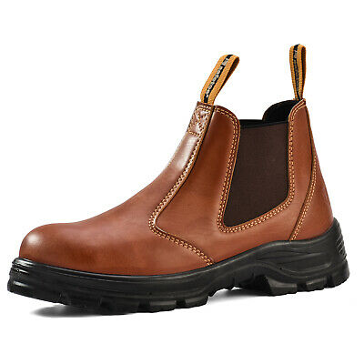 Safetoe Brown Leather Safety Work Boots Shoes Steel Toe Slip on Water-Resistant