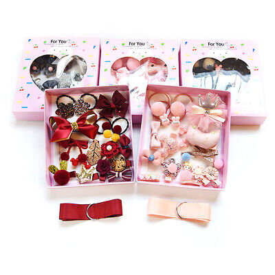 18X Baby Girls Head wear Elastic Bow knot Hair Clip Barrette Hairpin Xmas Gift