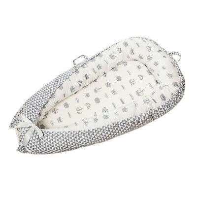 Baby Bassinet Bed 0-3 Years Olds Portable Infant Lounger Nest Crown_White