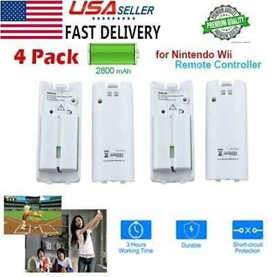 4pcs White Rechargeable 2800mAh Battery Pack fr Nintendo Wii Remote Controller