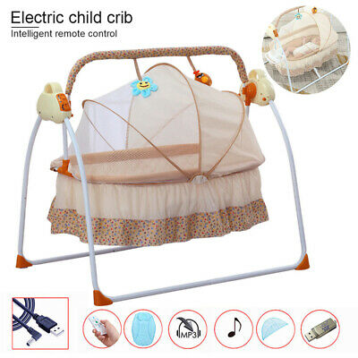 Electric Kids Baby Crib Cradle Infant Rocker Auto-Swing Sleeping Bed + Music