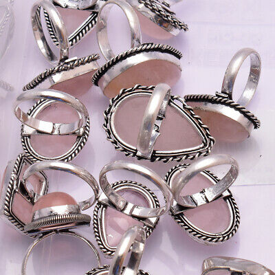 """Natural Rose Quartz Ring 925 Sterling Silver Handmade Rings size 5 to 12"""""""