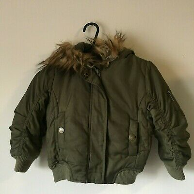 Next Girls Kids Padded Winter Puffa Parka Coat Bomber Jacket Fur Hood Age 3