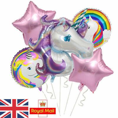 5pcs Unicorn Star Bouquet Helium Foil Balloons Kids Birthday Party Decor Purple