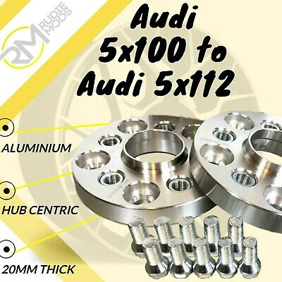 Audi 5x100 57.1 to Audi 5x112 57.1 20mm Hubcentric PCD Adaptors 1 Pair