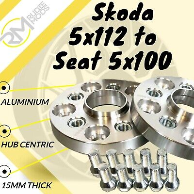 Skoda CAR 5x112 57.1 to Seat 5x100 15mm Hubcentric PCD Adaptors - Steel Inserts