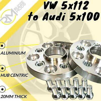 VW CAR 5x112 57.1 to Audi 5x100 20mm Hubcentric PCD Adaptors - Steel Inserts