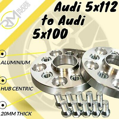 Audi CAR 5x112 57.1 to Audi 5x100 20mm Hubcentric PCD Adaptors - Steel Inserts