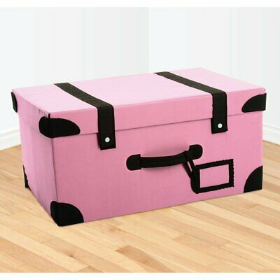 Retro Foldable Suitcase Storage Box Trunk - Pink