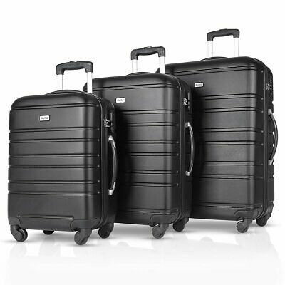 "3PCS Luggage Travel Set ABS Spinner Bag Trolley Suitcase w/ Lock 20"" 24"" 28"""